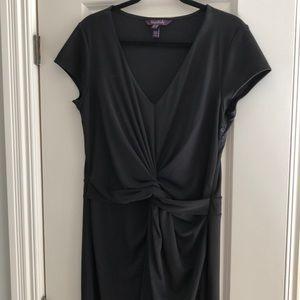 LTS black twist front dress